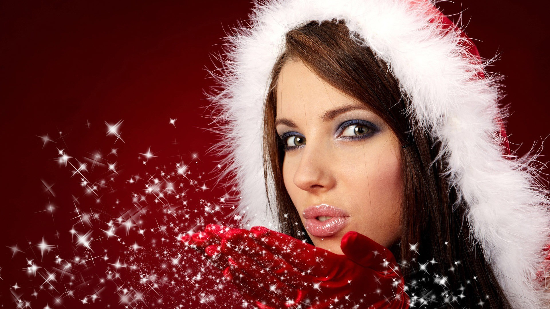 woman red santa claus HD Wallpaper