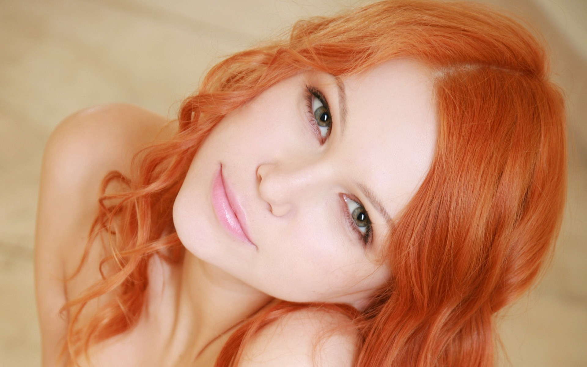 woman redheads faces Lidiya HD Wallpaper