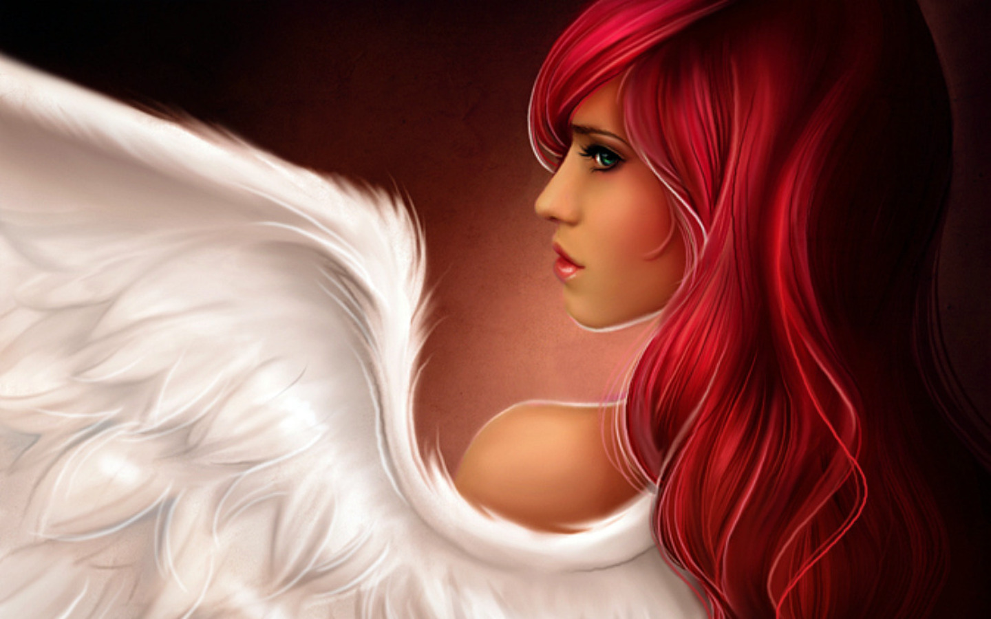 woman redheads illustrations angel HD Wallpaper