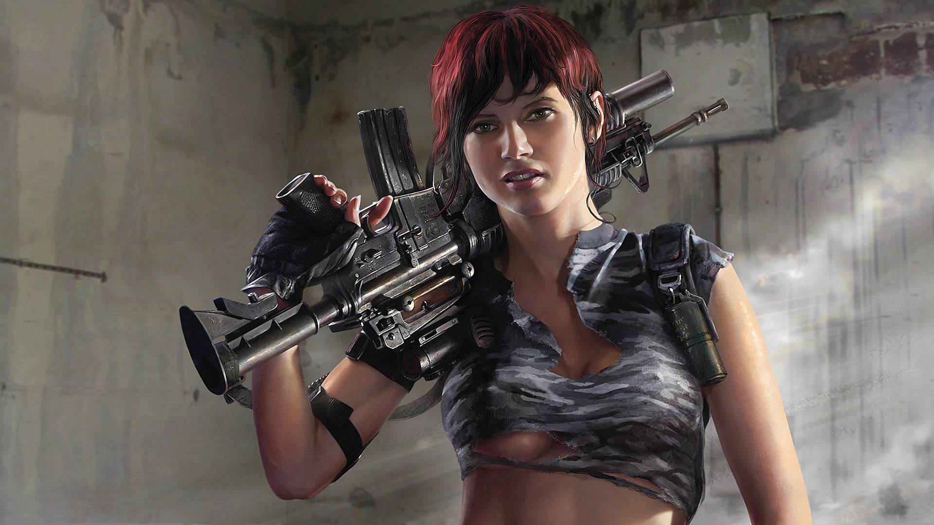 woman Rifles indoors redheads HD Wallpaper