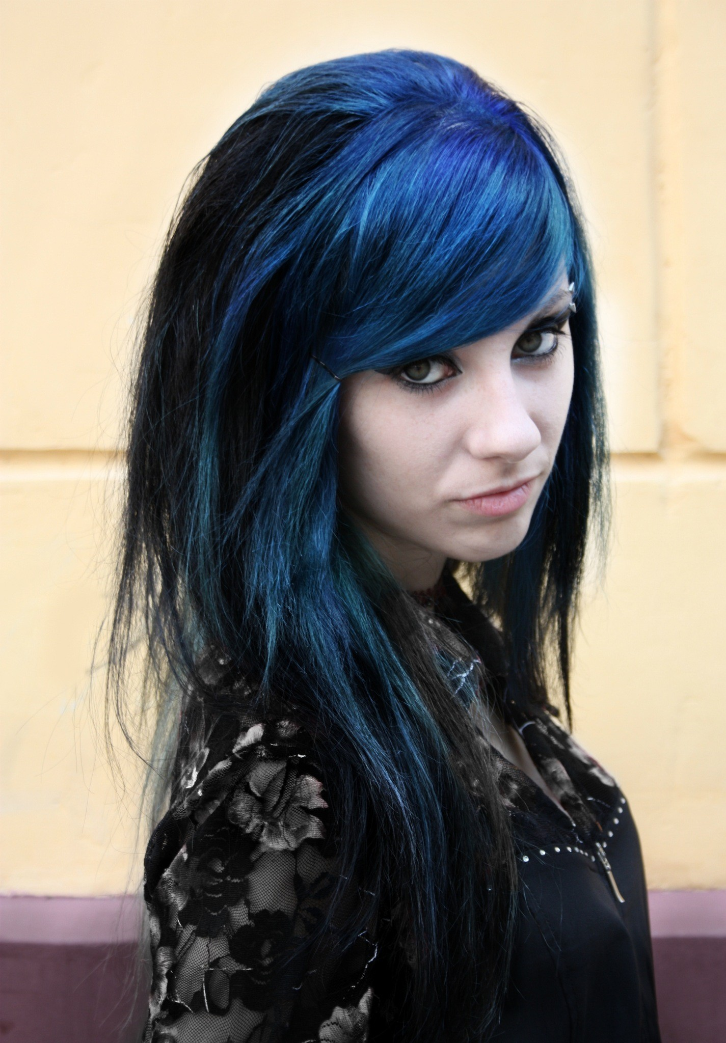 woman Russia blue hair HD Wallpaper