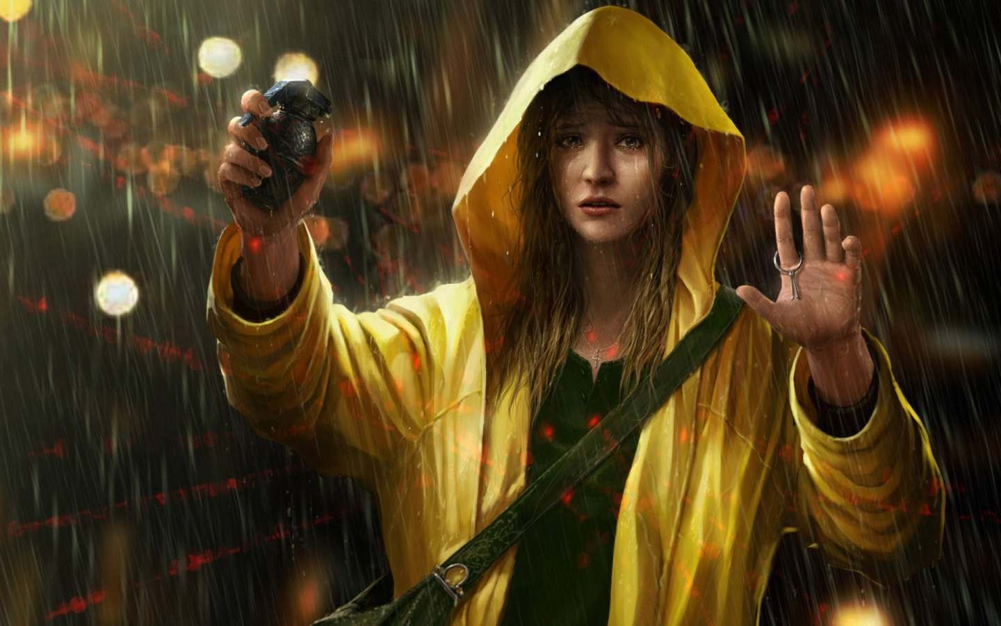 woman scope rain yellow
