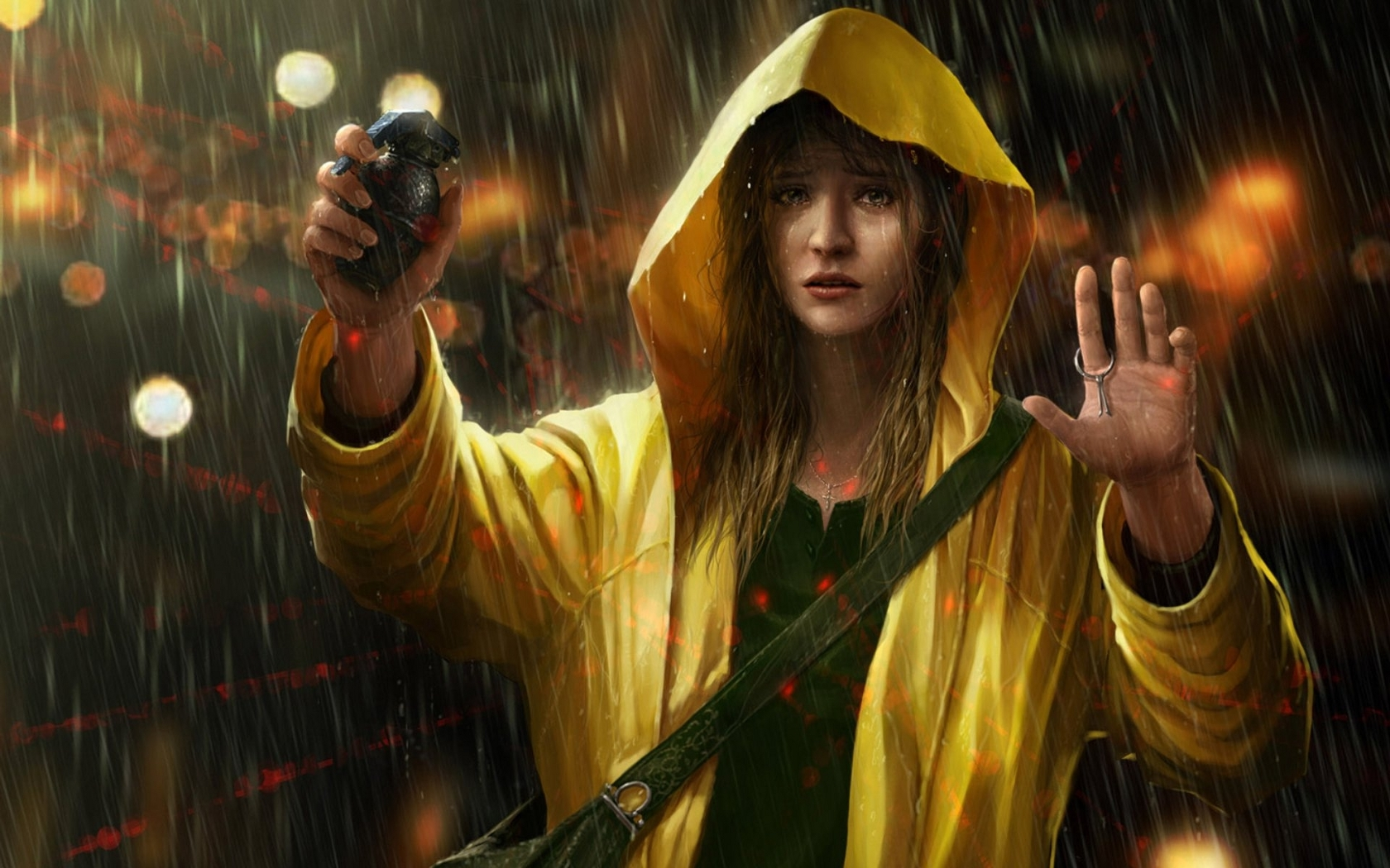 woman scope rain yellow HD Wallpaper