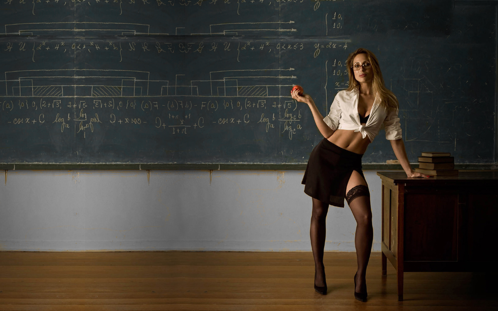 woman stockings teachers apples HD Wallpaper