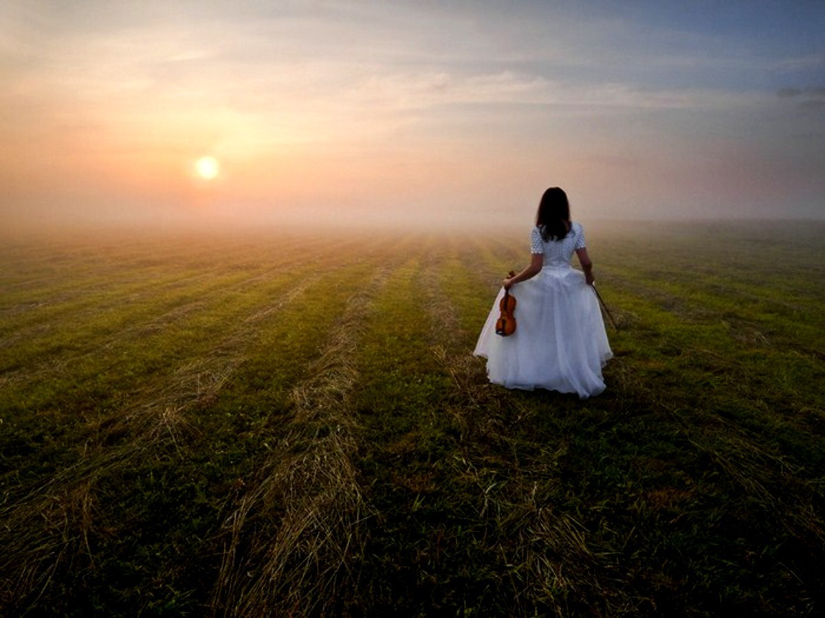 woman sunrise nature white HD Wallpaper