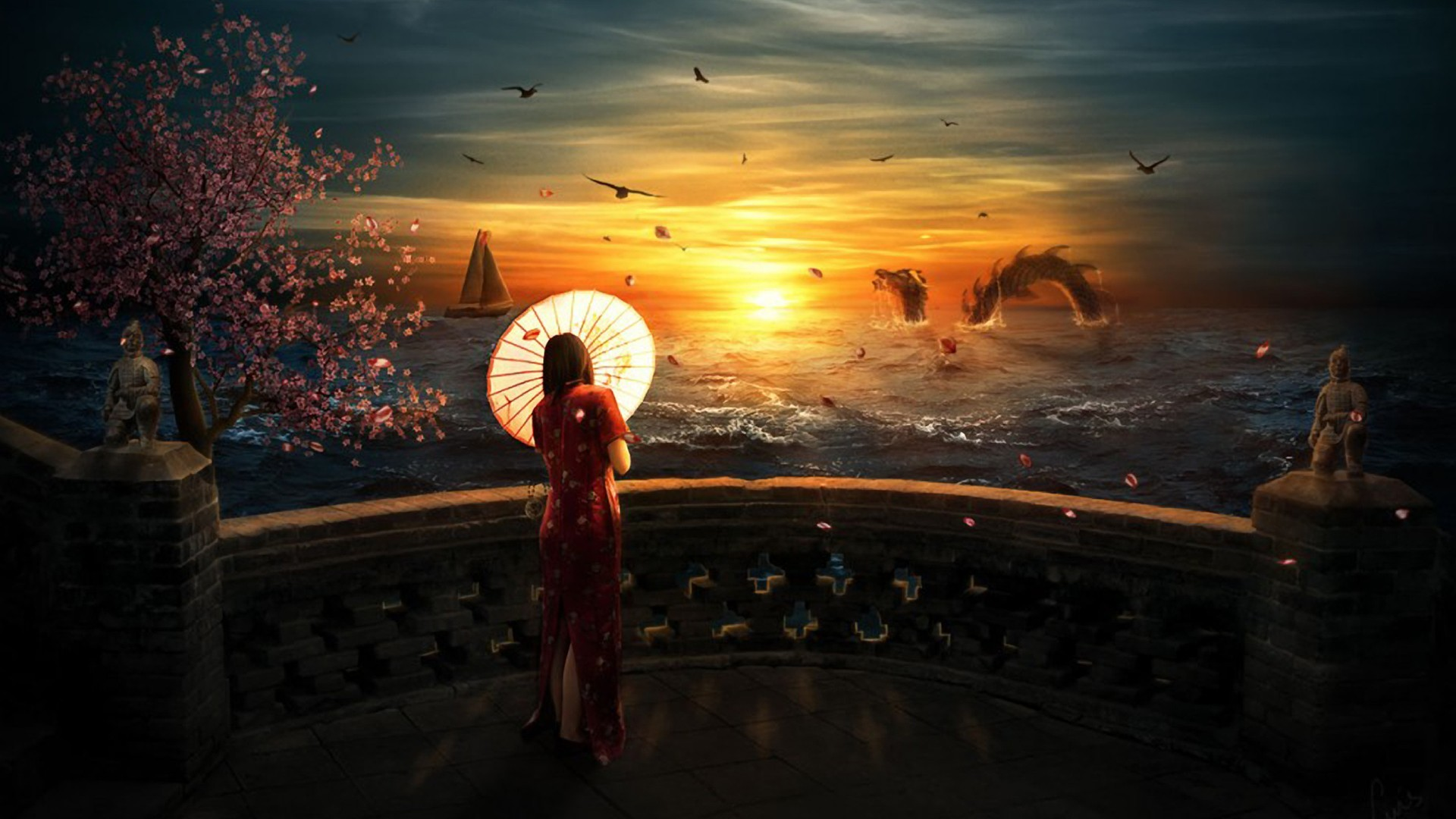 woman sunset fantasy ocean HD Wallpaper