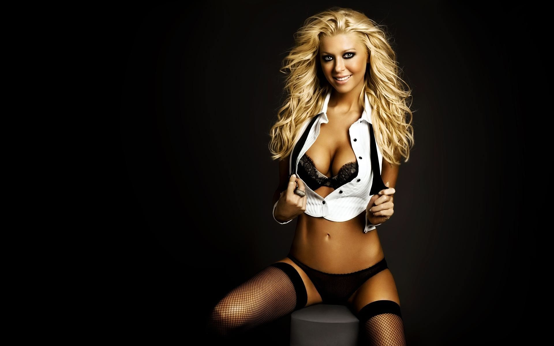 woman Tara Reid stockings blondes lingerie HD Wallpaper