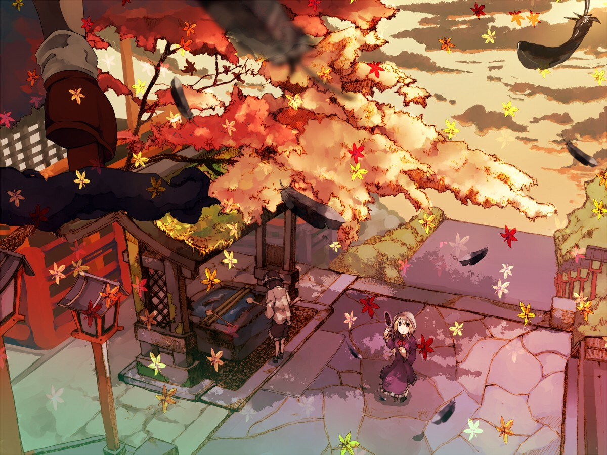 woman touhou autumn leaves HD Wallpaper