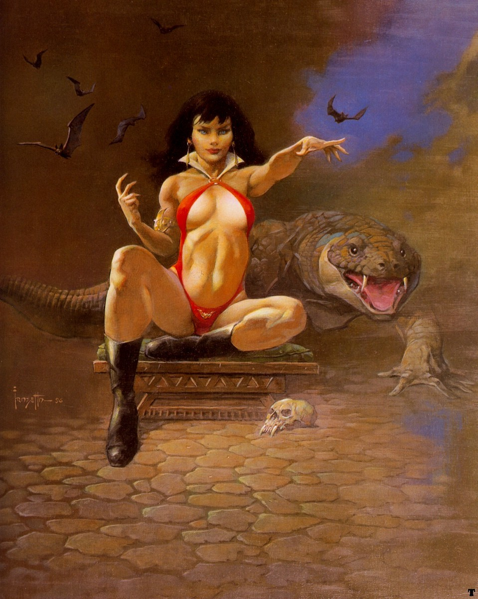 woman Vampirella Frank Frazetta HD Wallpaper