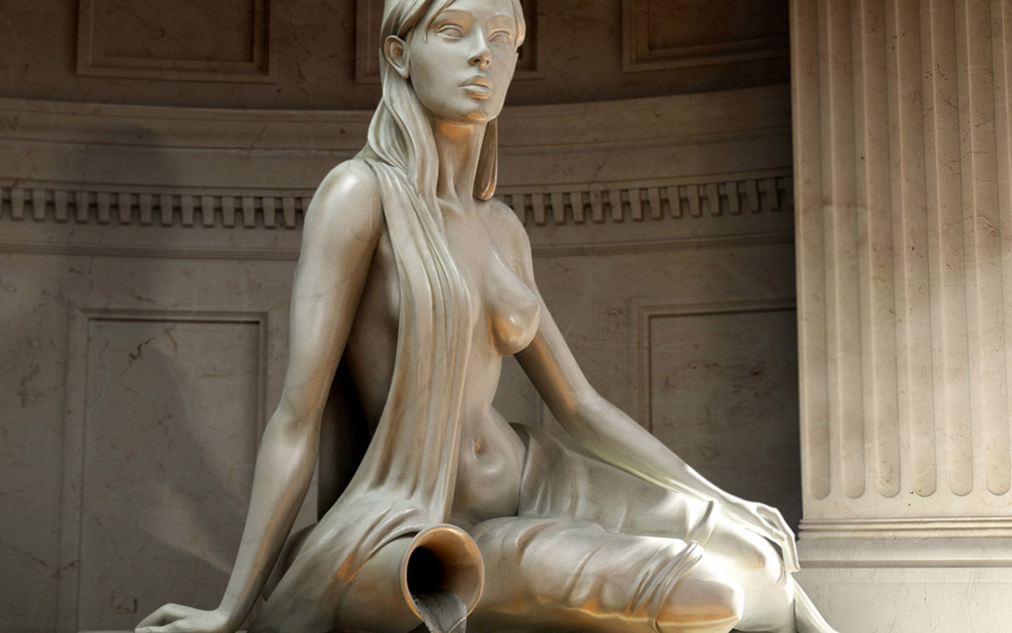 woman water Carrier statues HD Wallpaper