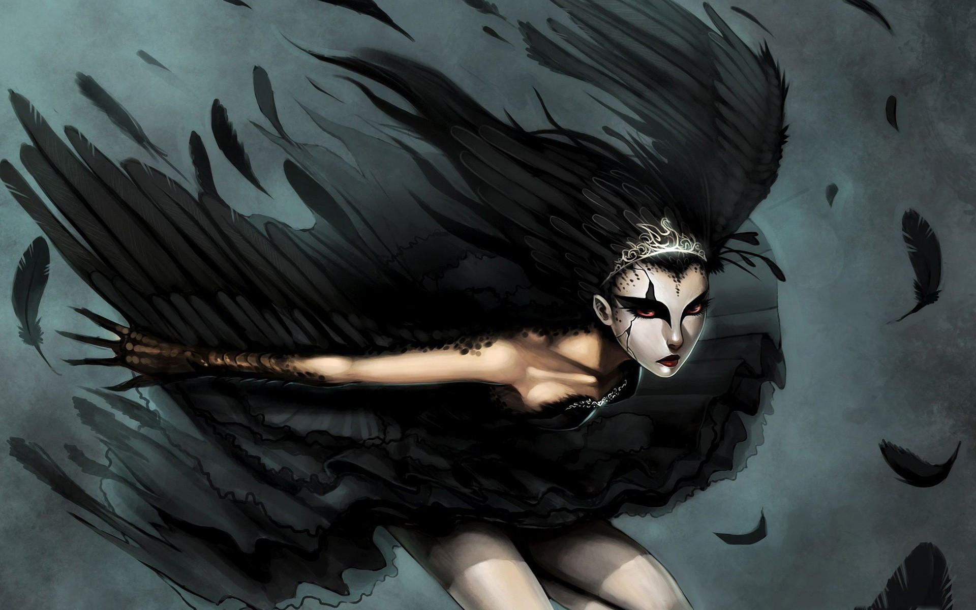 woman wings ballet feathers HD Wallpaper