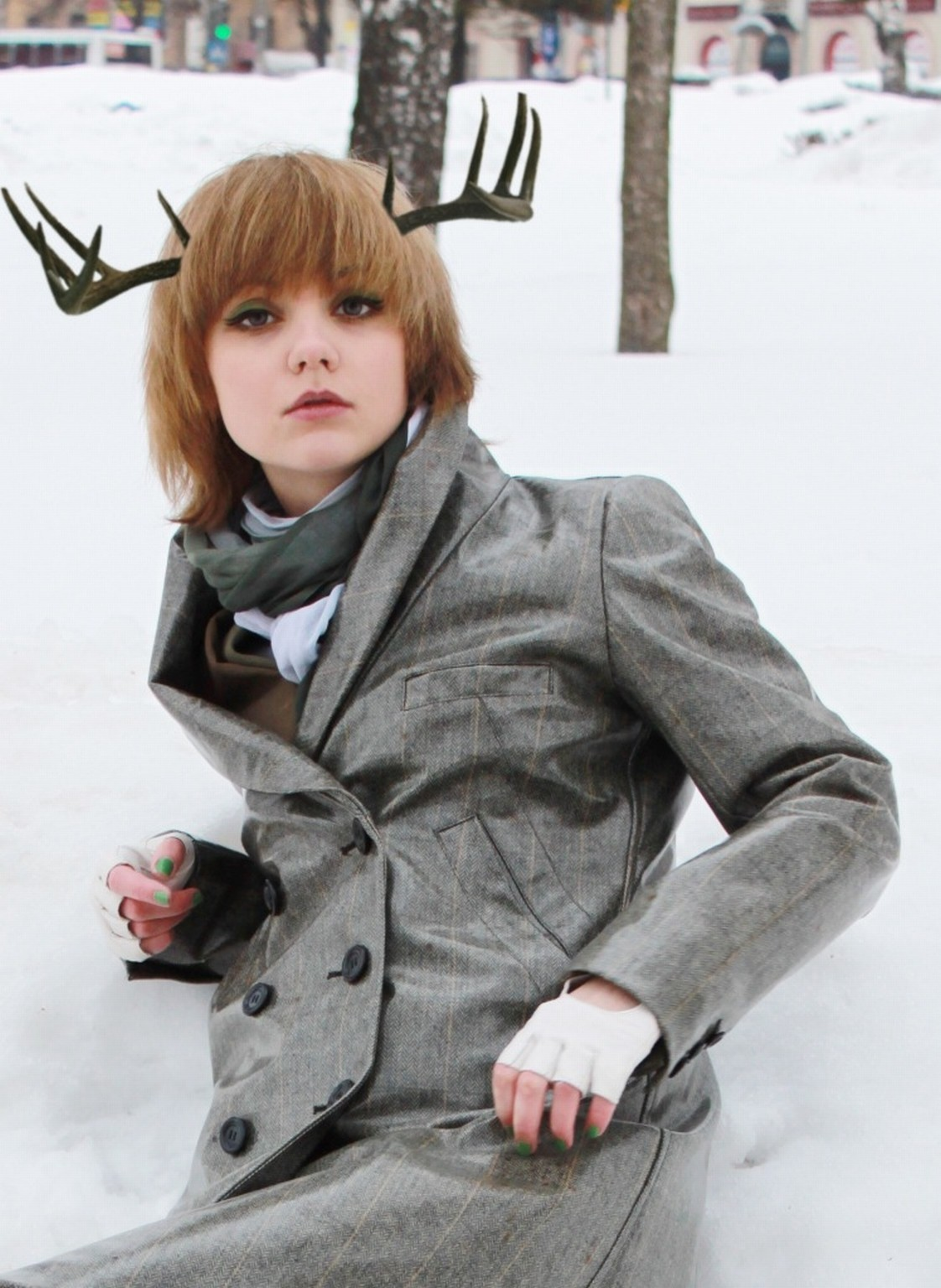 woman winter deer furry