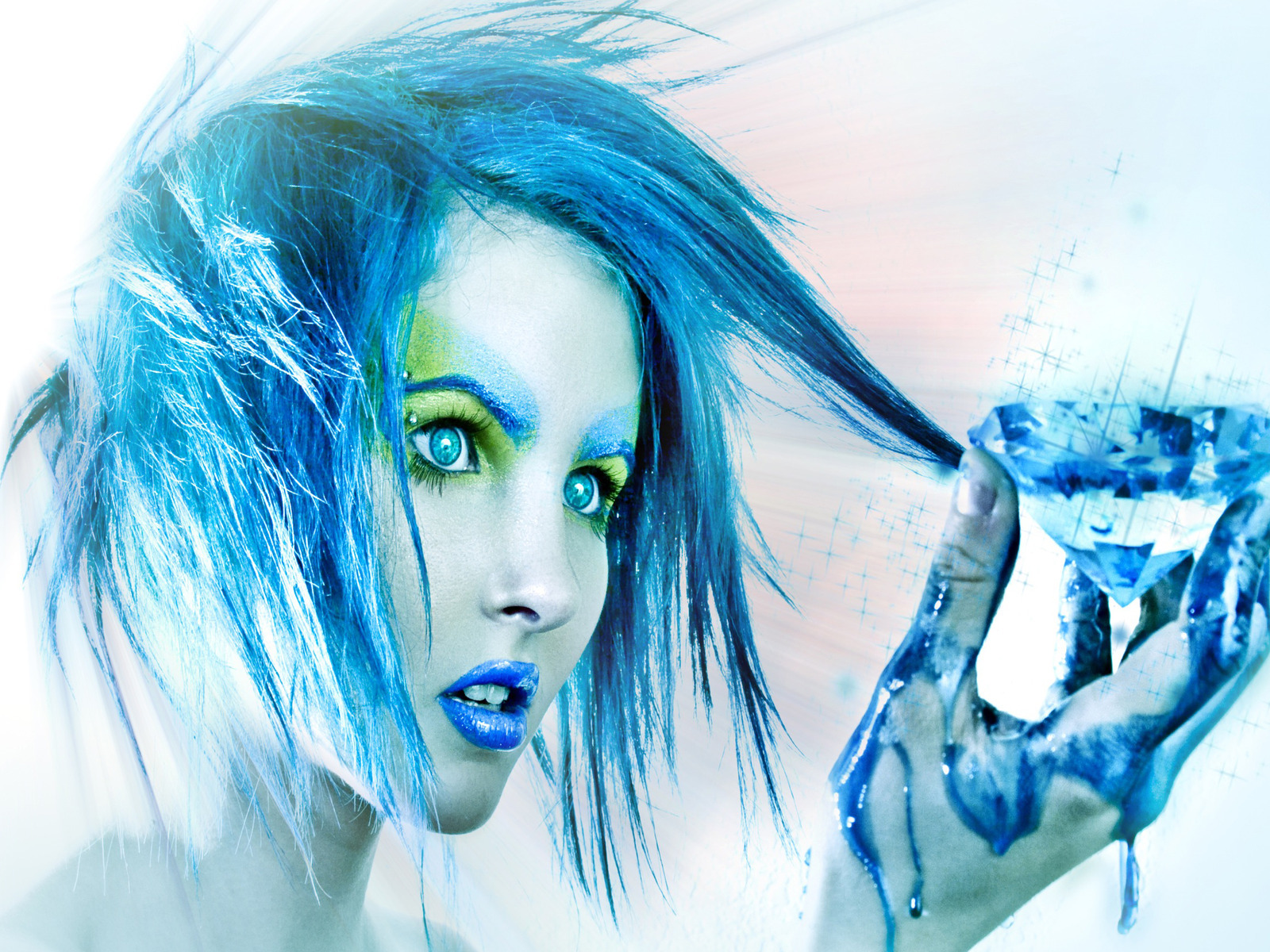 Women blue paint hair HD Wallpaper
