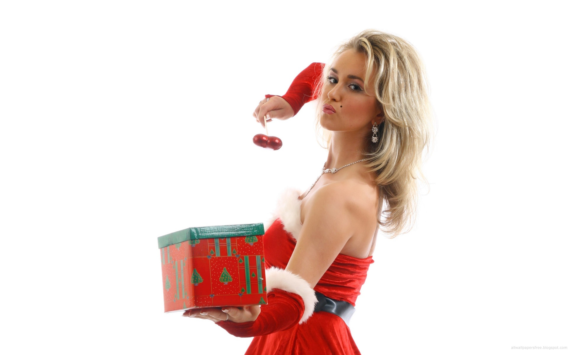 Women cherries X-mas girl HD Wallpaper
