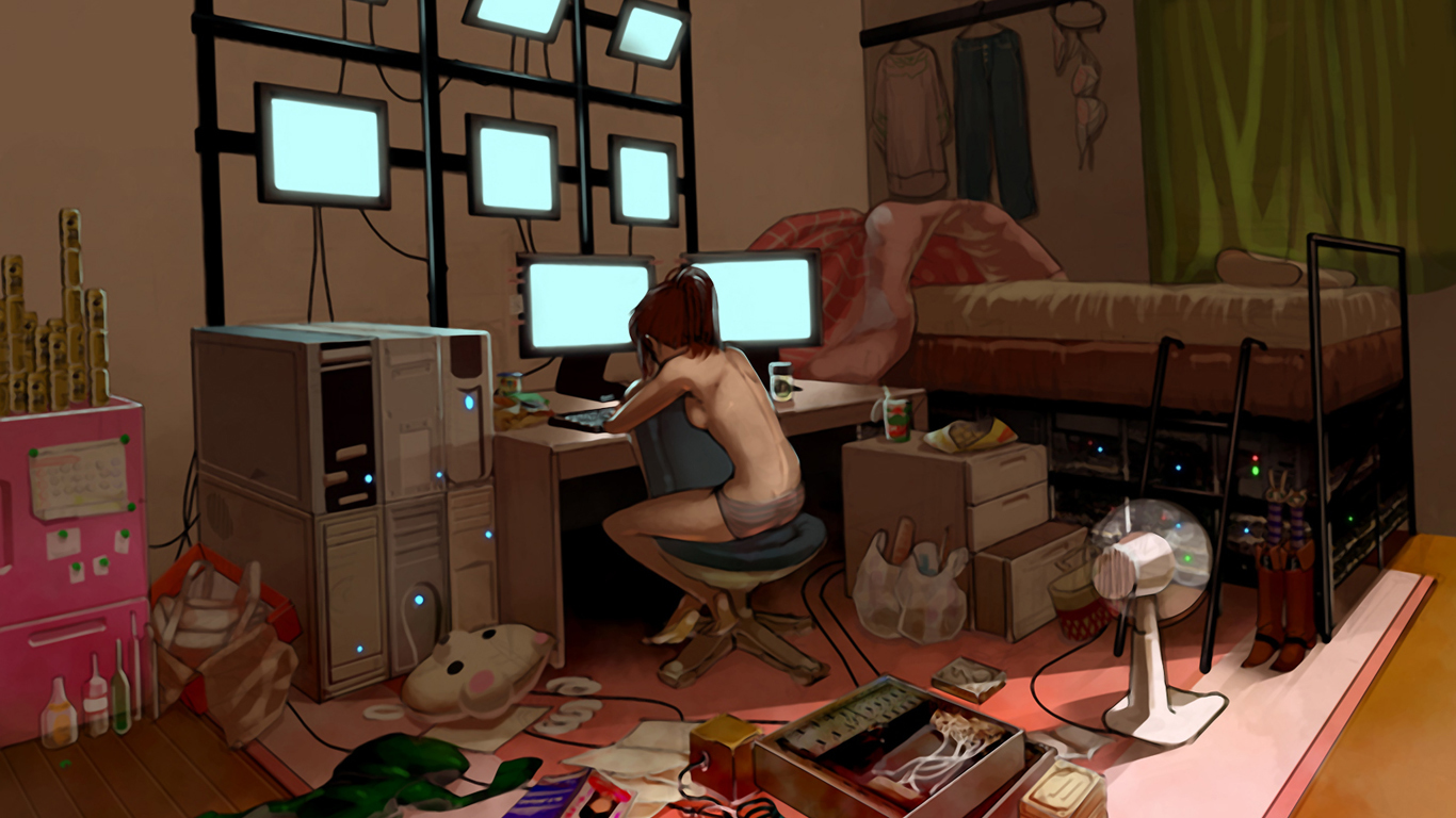 Women Computers nerd nude HD Wallpaper