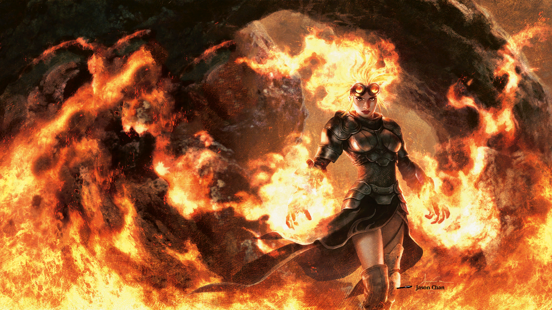 Women flames fantasy mage HD Wallpaper