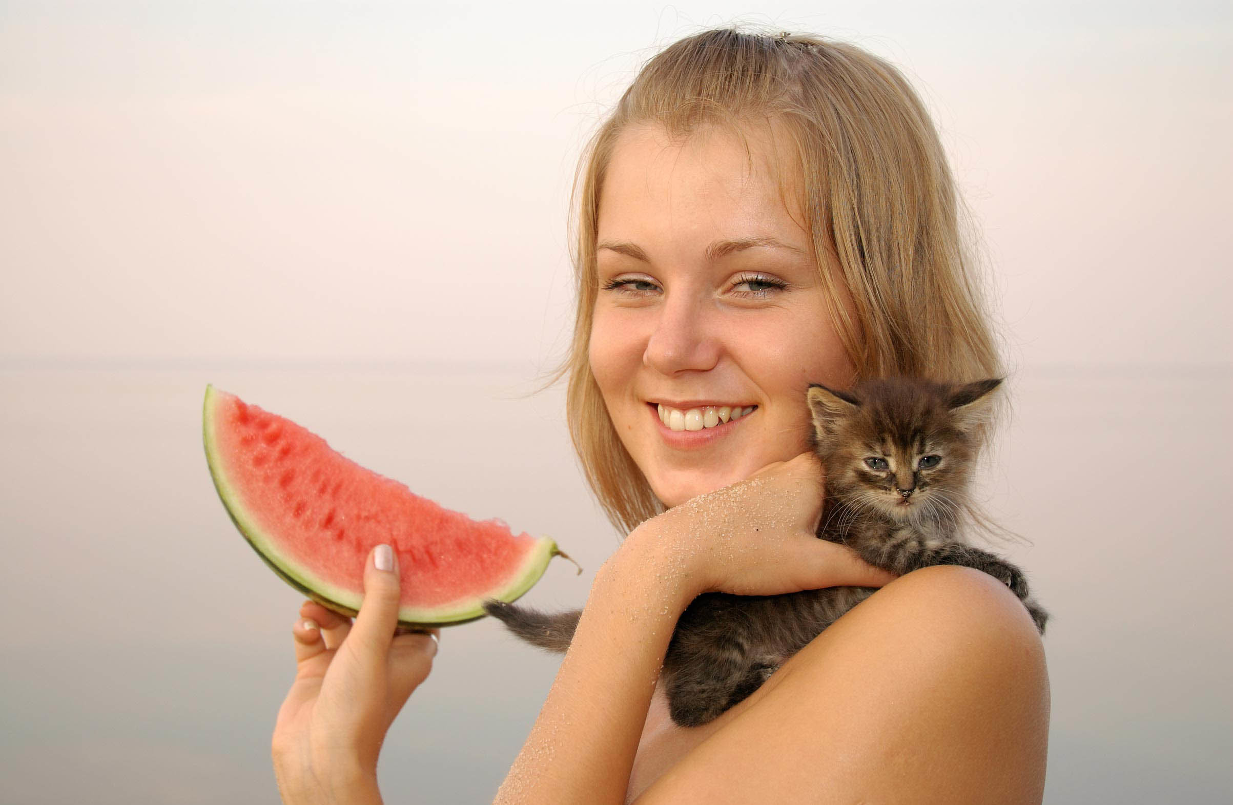 Women watermelons Kittens white HD Wallpaper