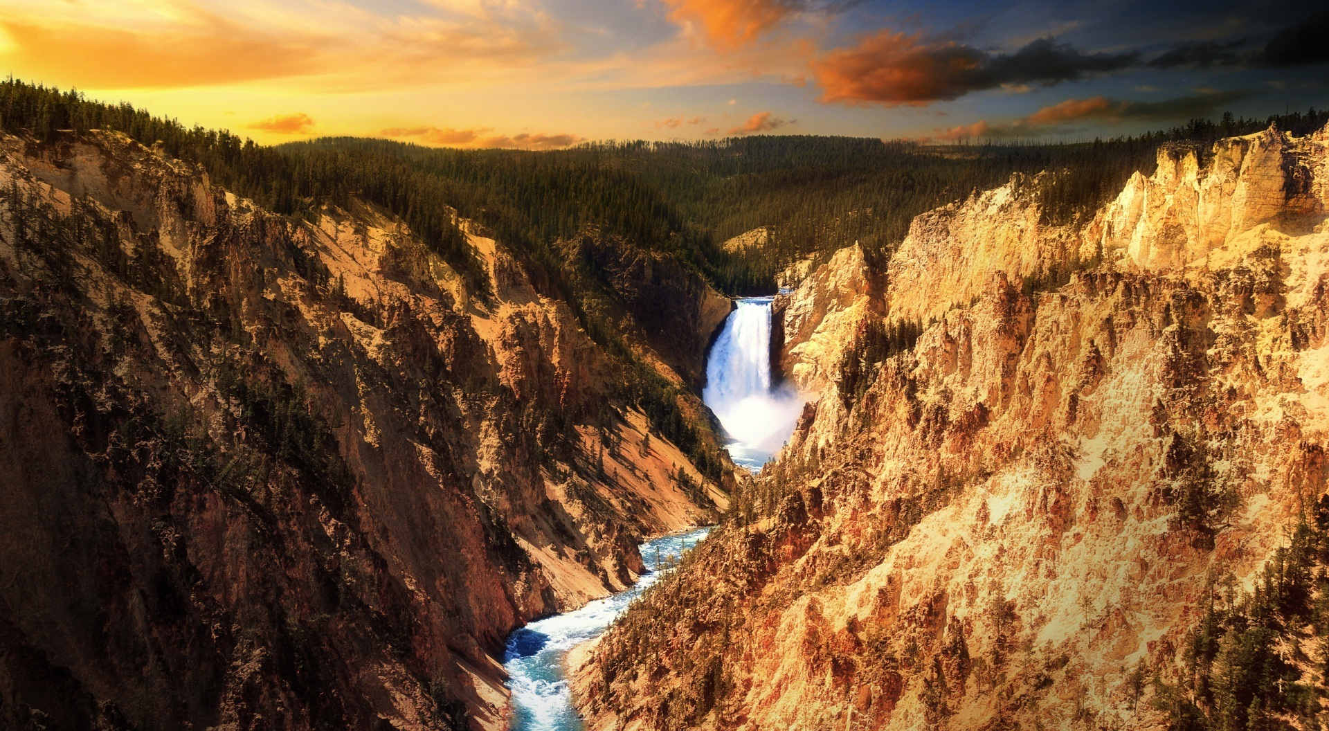 yellowstone waterfalls national park HD Wallpaper